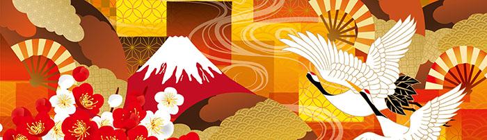 新年、お祝い、鶴、扇、富士山
